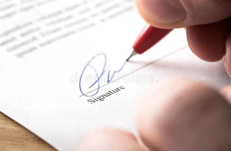 Signing contract, lease or settlement for acquisition, apartment lease, insurance, bank loan, mortgage or business buyout. stock photos