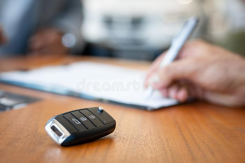 Signing contract of new car royalty free stock image