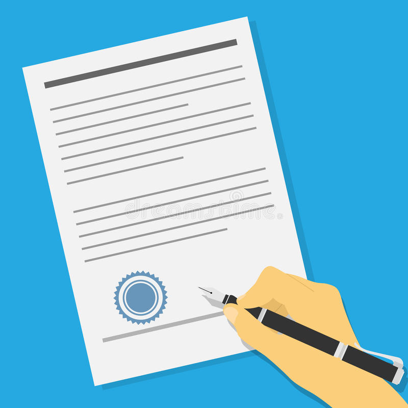 Signing contract. Picture of human hand holding an ink pen and signing contract or offer agreement stock illustration