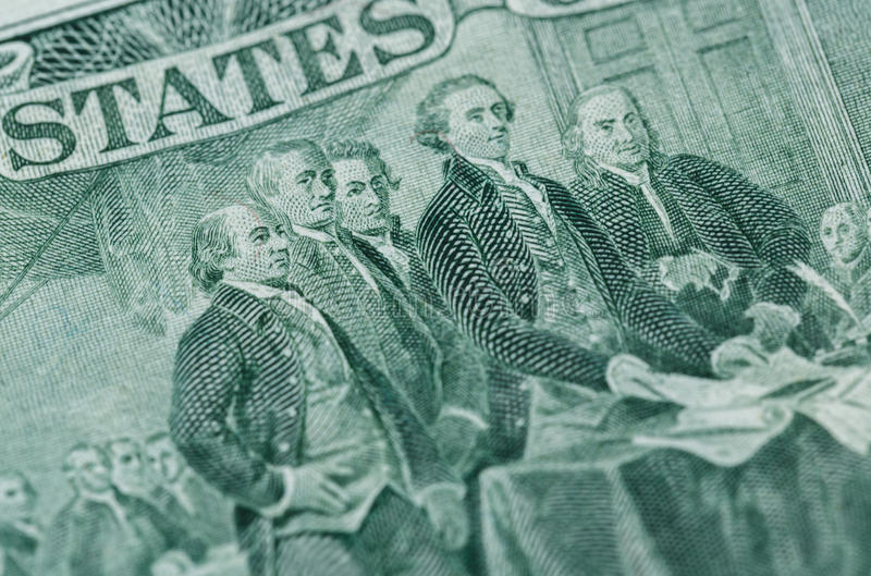 Signing declaration of independence from us two dollar bill macro royalty free stock images