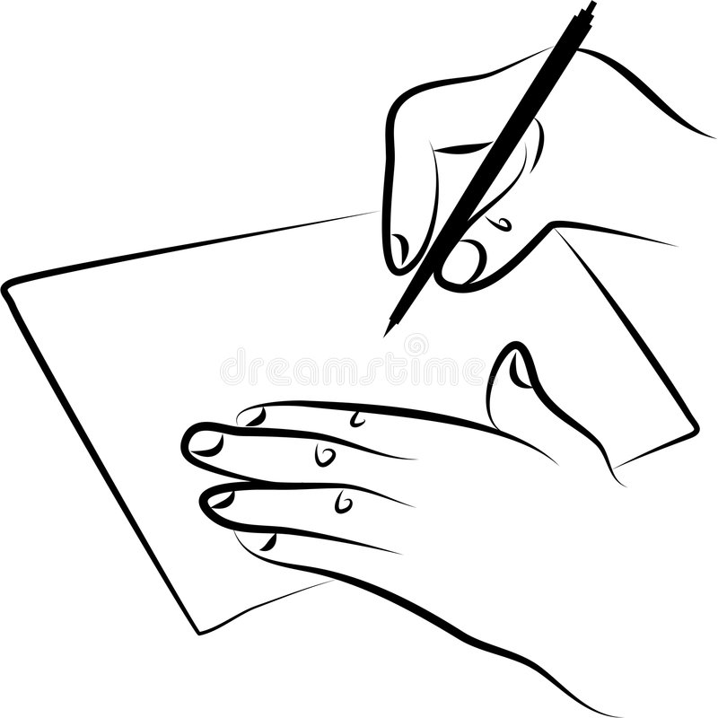Signing document. Line drawing of hands signing a document or writing a note vector illustration