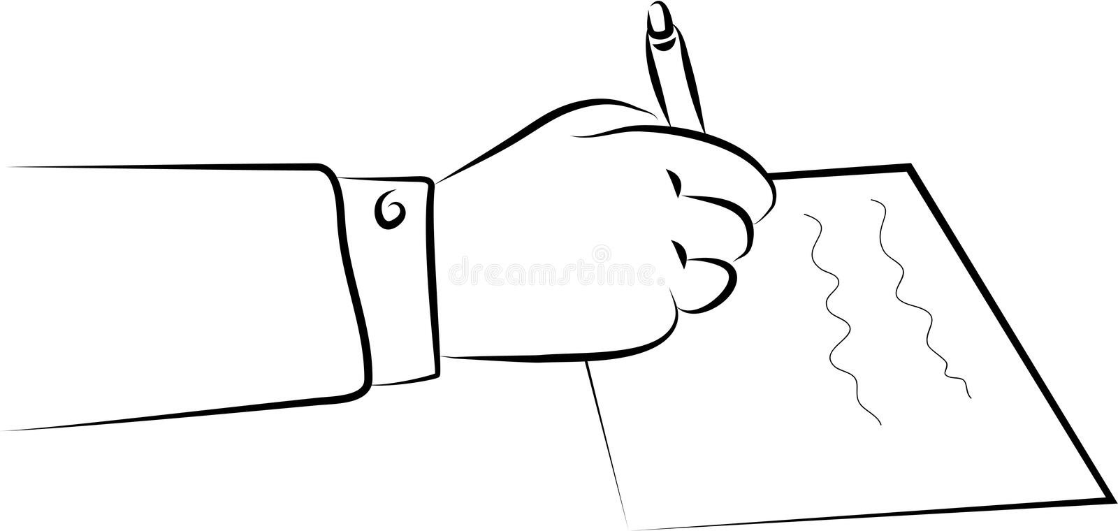 Signing a document. A hand signing a document or writing a letter vector illustration