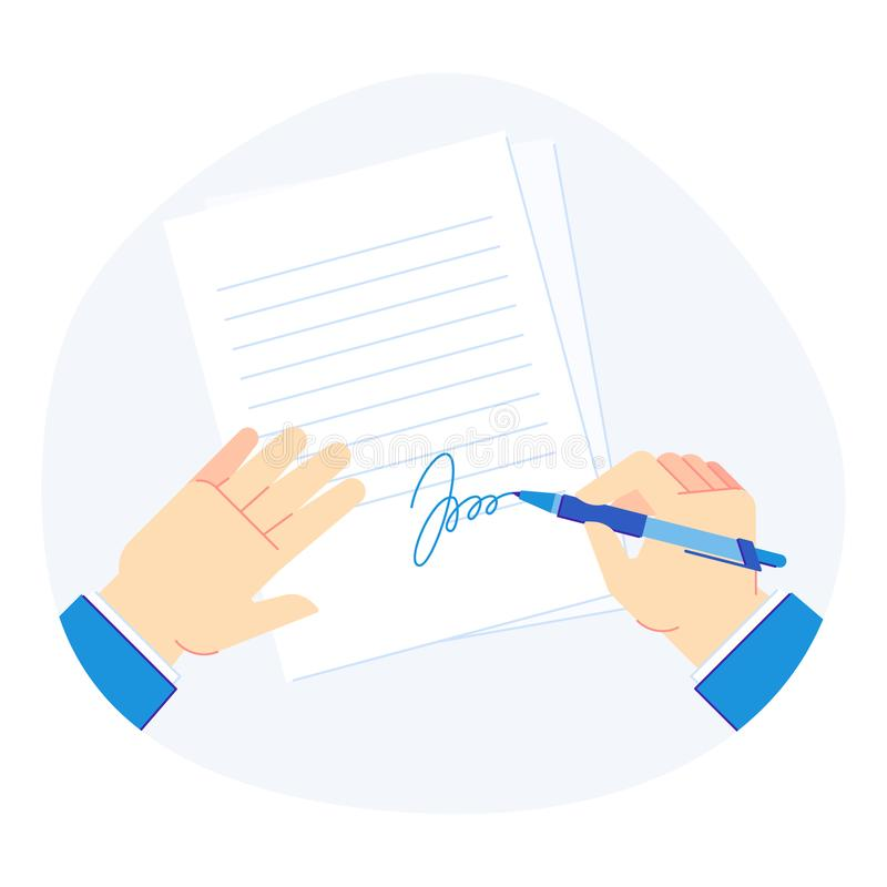 Signing document. Pen in businessman hand, clipboard folder with business documents and signed paper vector illustration. Signing document. Pen in businessman royalty free illustration