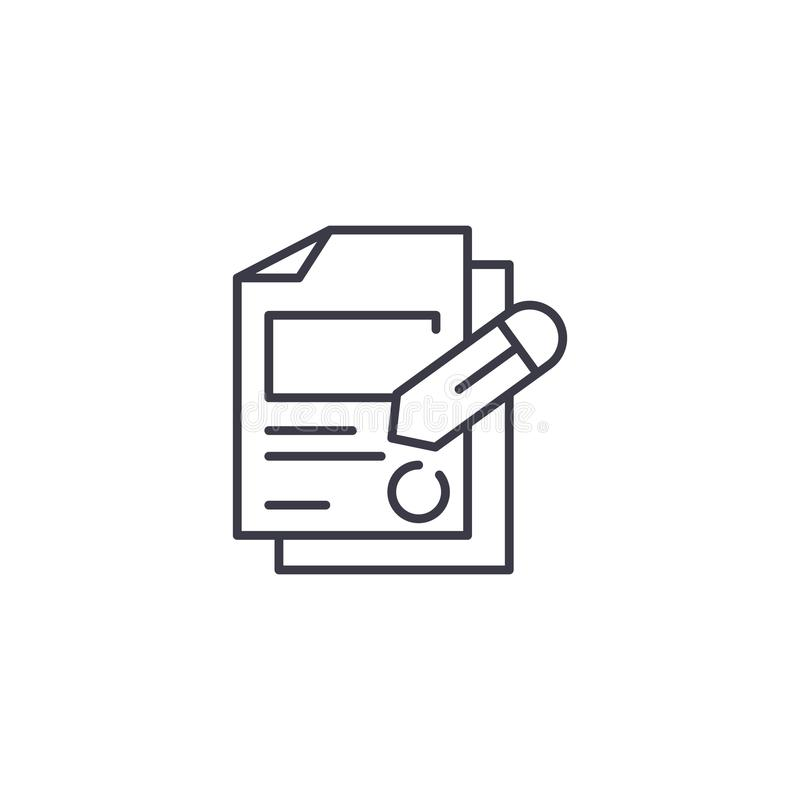 Signing documents linear icon concept. Signing documents line vector sign, symbol, illustration. vector illustration