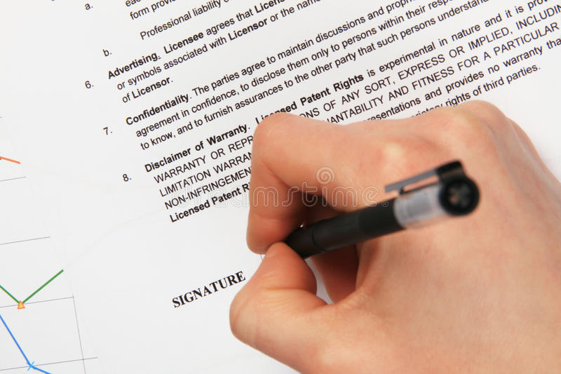 Signing a generic license agreement stock images
