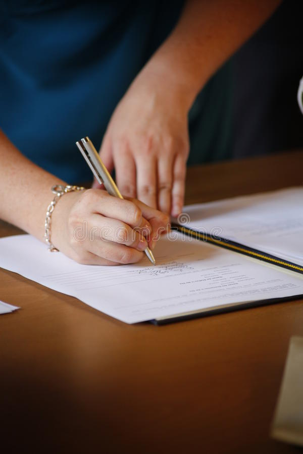 Signing the marriage contract stock photography