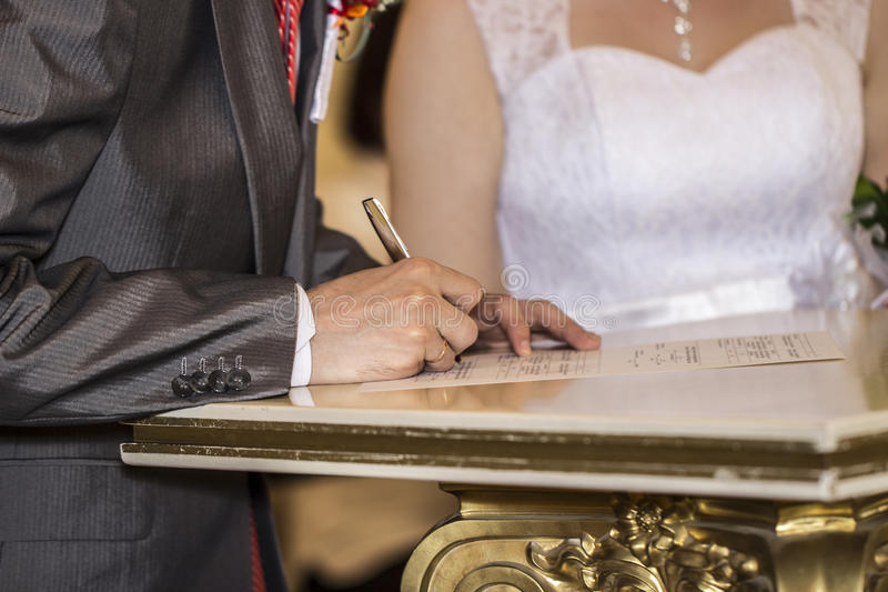The signing of the marriage contract stock image