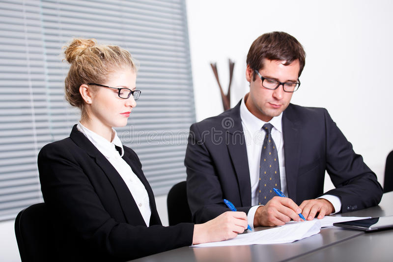 Signing new business contract royalty free stock images