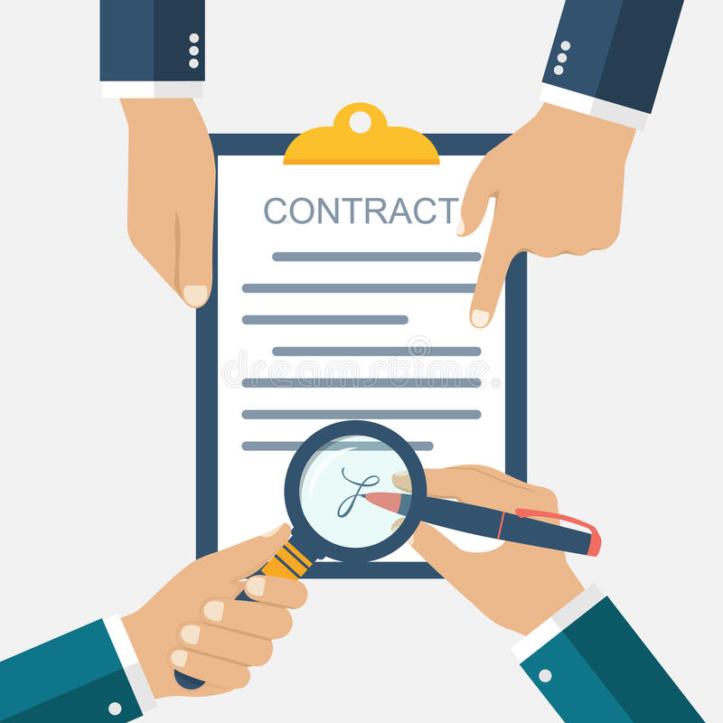 Signing of a treaty business contract. Flat design vector illustration. Agreement. Businessman signs a contract. Inspection the legal document. Contract in vector illustration