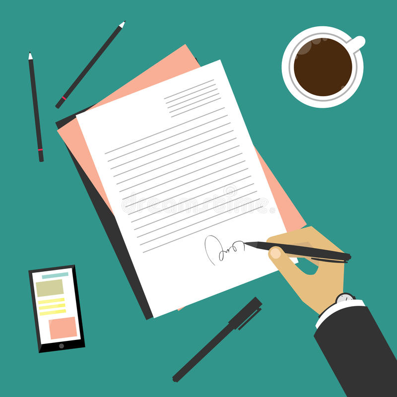 Signing of a treaty (hand with pen). Business situation signing of a treaty vector illustration
