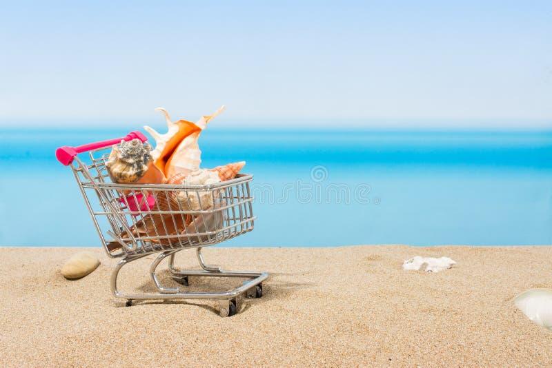 Signings del verano, viaje que hace compras Carro en la playa x foto de archivo