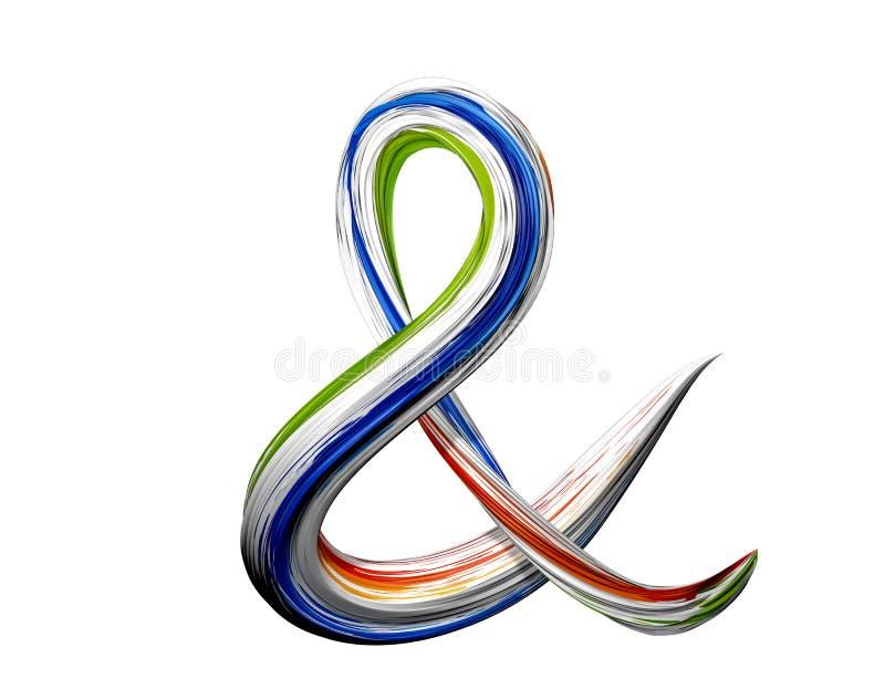 Signo '&' colorido de la diversión o y símbolo de la muestra en el ejemplo 3D con efecto pintado bonito del color 3d rinden fotos de archivo