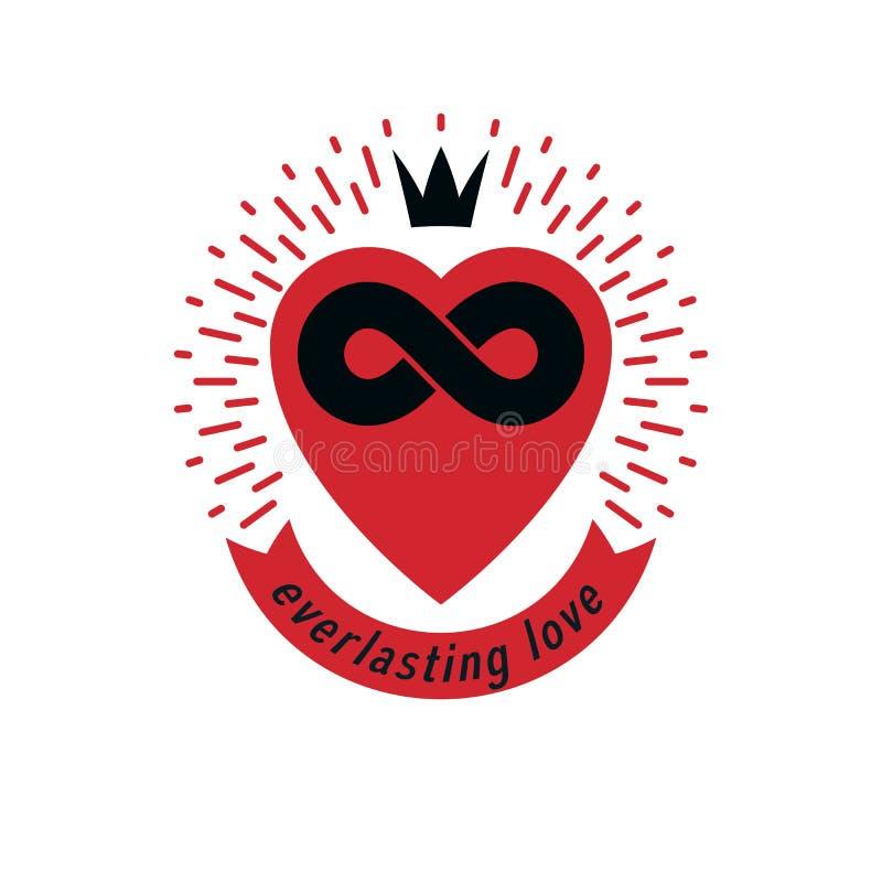 Signo conceptual de Love Forever, símbolo vectorial creado con signo de bucle infinito stock de ilustración
