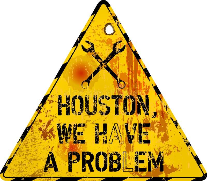 Signo de advertencia de fallo del sitio web Grungy, houston, tenemos un problema, ilustración vectorial libre illustration