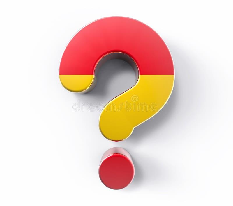 signo de interrogación aislado 3D de la bandera de España Estafa de la ayuda de la solución de la duda libre illustration