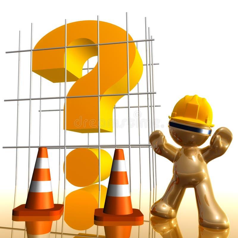 Signo de interrogación bajo icono divertido 3d de la construcción libre illustration