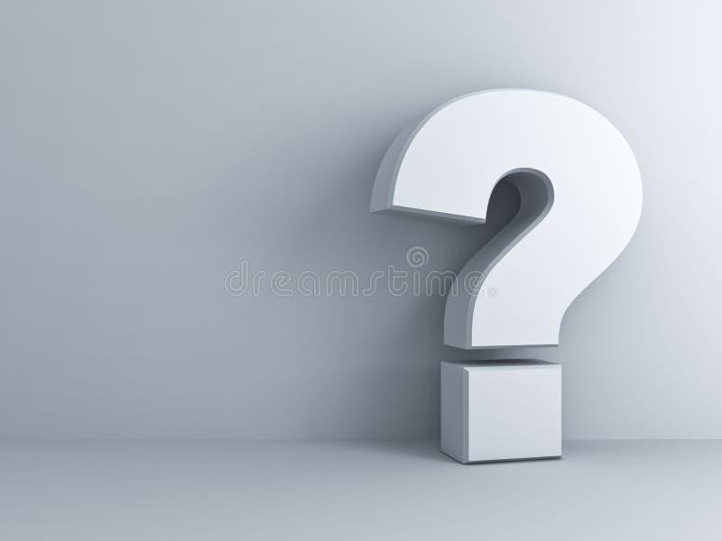 Signo de interrogación blanco en la pared blanca libre illustration