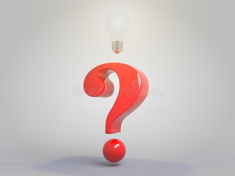 Signo de interrogación con el ejemplo encendido del concepto 3D de la idea de la bombilla libre illustration