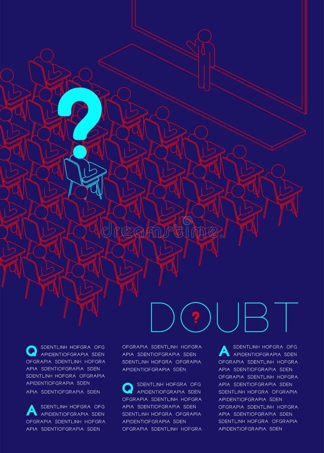 Signo de interrogación con el pictograma del icono del hombre de la duda en la sala de clase, problemas sociales: Illustratio del stock de ilustración