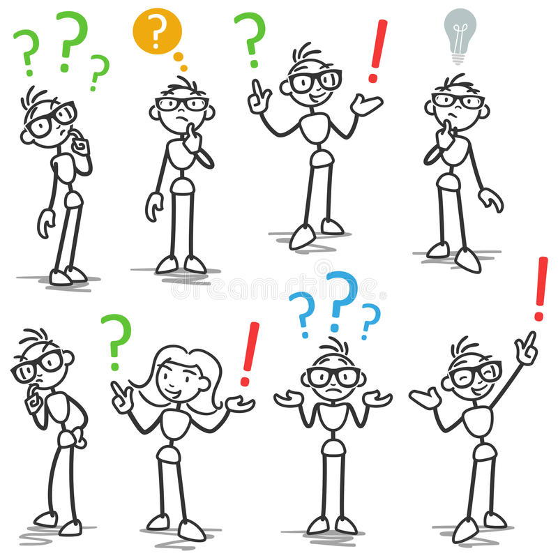 Signo de interrogación de Stickman que pide la reflexión ilustración del vector