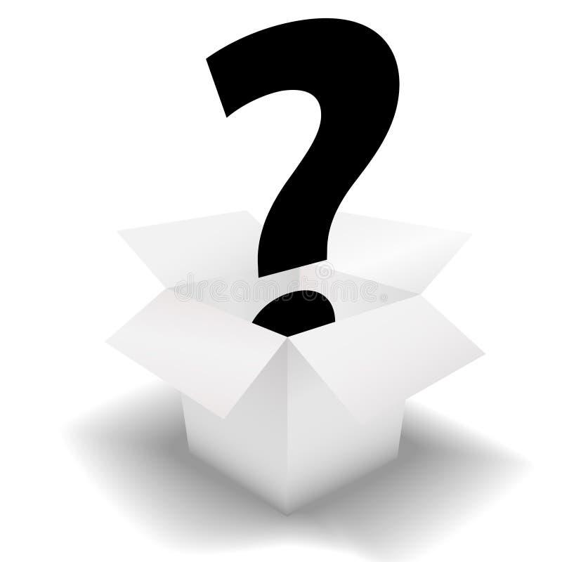 Signo de interrogación del rectángulo del misterio en el cartón blanco ilustración del vector