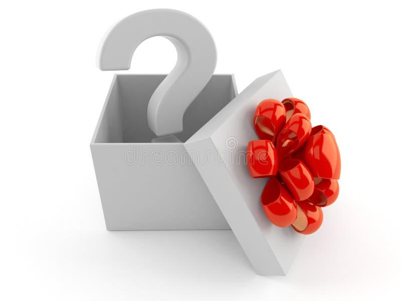 Signo de interrogación dentro del regalo stock de ilustración