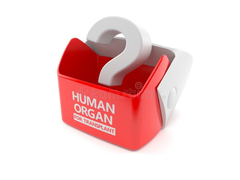 Signo de interrogación dentro de la caja del trasplante de órgano humano ilustración del vector