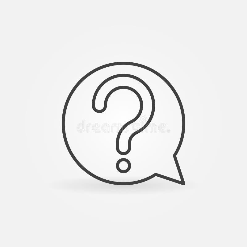 Signo de interrogación en icono o símbolo del vector de la burbuja del discurso stock de ilustración