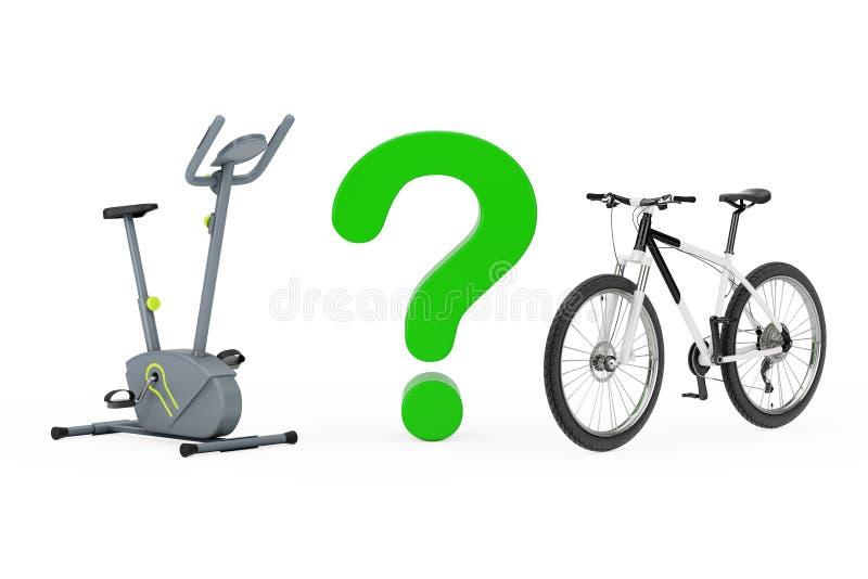Signo de interrogación entre la máquina inmóvil del gimnasio de la bicicleta estática y B stock de ilustración