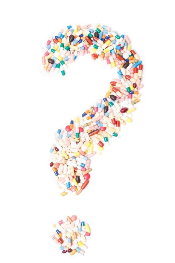 Signo de interrogación fuera de los productos farmacéuticos foto de archivo libre de regalías