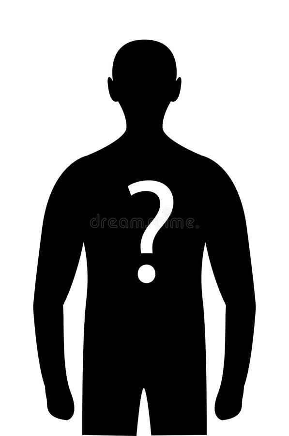 Signo de interrogación de la persona del misterio de la silueta en cuerpo ilustración del vector