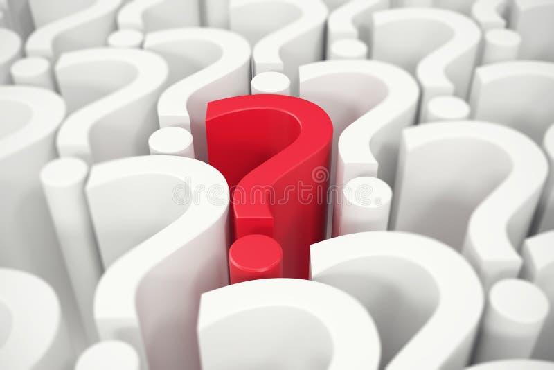 Signo de interrogación rojo en el centro, preguntas el concepto representación 3d ilustración del vector
