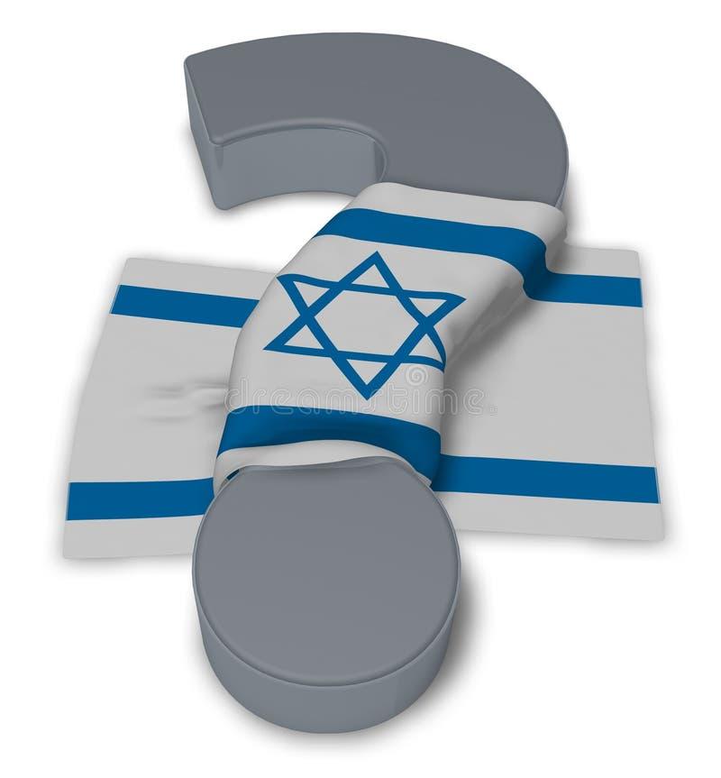 Signo de interrogación y bandera de Israel stock de ilustración