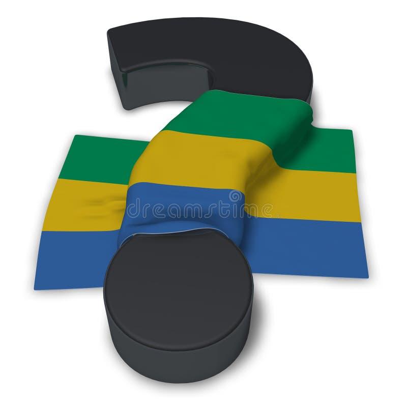 Signo de interrogación y bandera de Gabón libre illustration