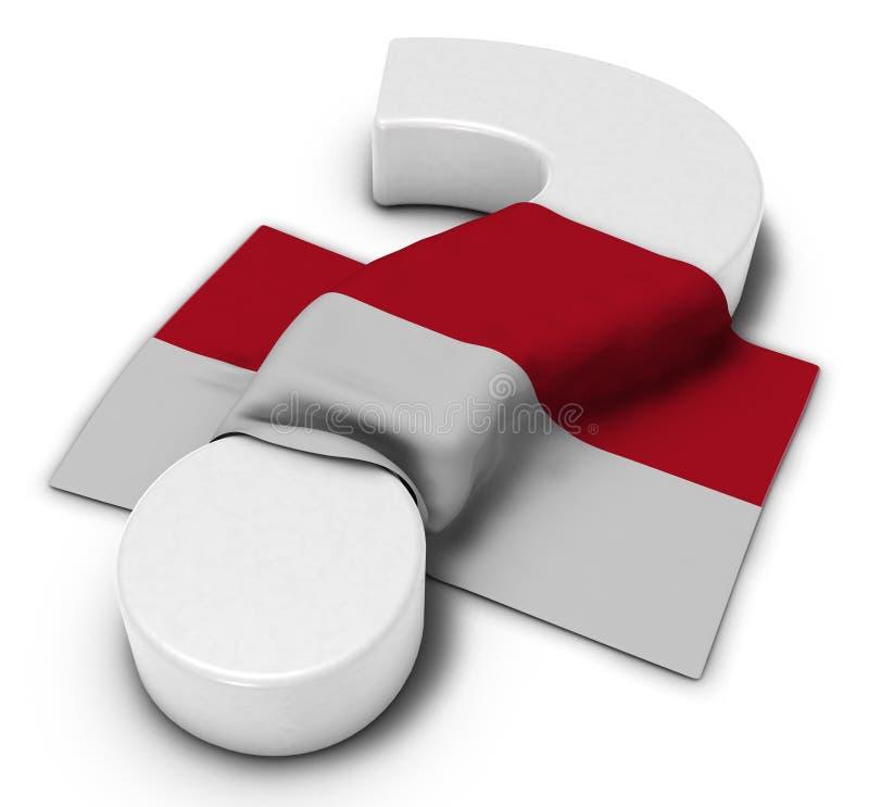 Signo de interrogación y bandera de Mónaco stock de ilustración