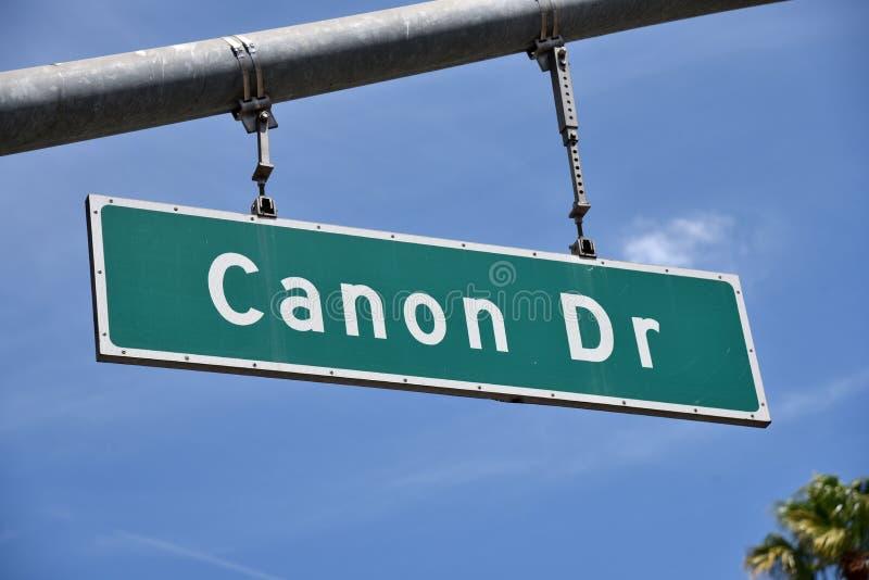 Signo de la calle Canon Drive fotografía de archivo libre de regalías