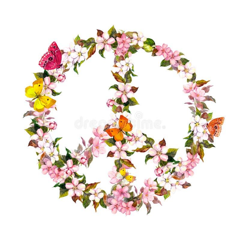 Signo de la paz con las flores y las mariposas rosadas watercolor imagen de archivo
