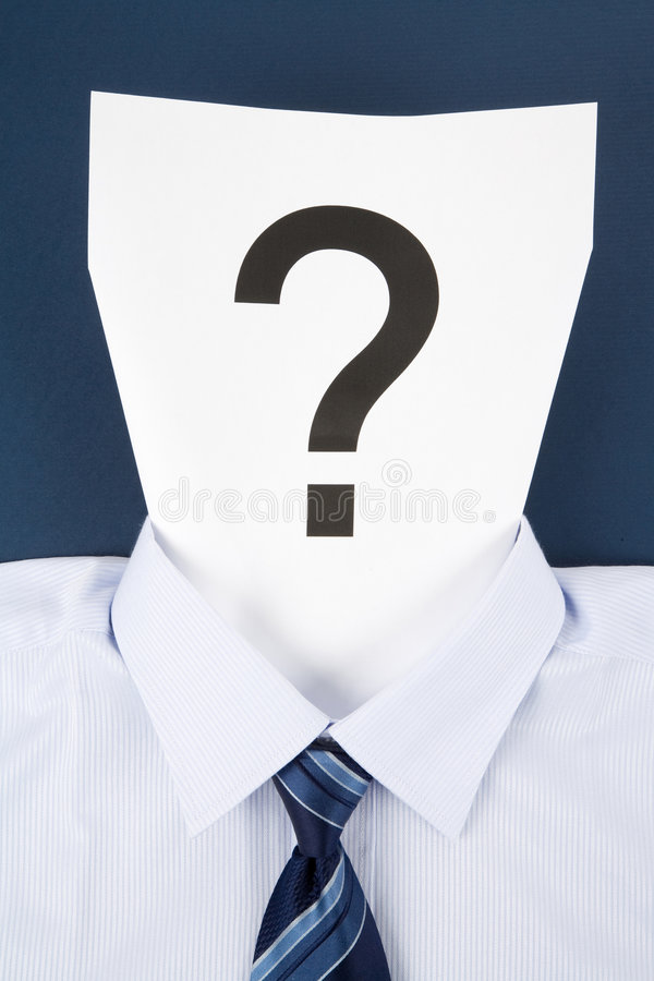 Signo de papel de la cara y de interrogación fotos de archivo