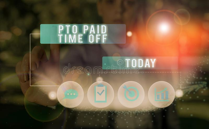Signo de texto que muestra el tiempo de desactivación pagado de Pto Fotografía conceptual El empleador concede una indemnización  fotos de archivo