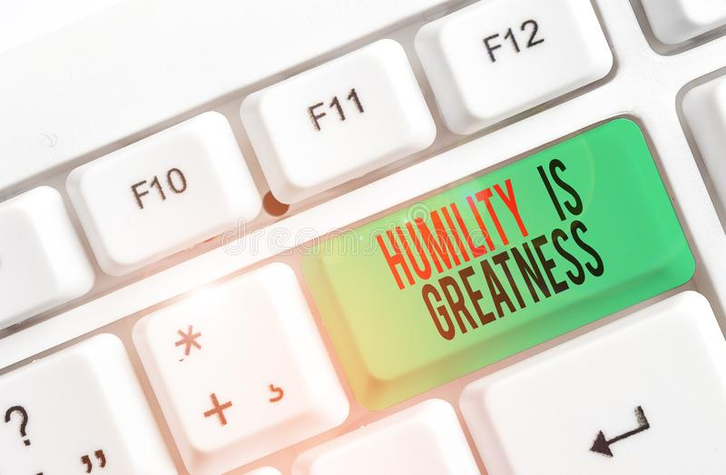 Signo de texto que muestra Humilitud es grandeza La foto conceptual de ser humilde es una virtud que no se siente demasiado super imagenes de archivo