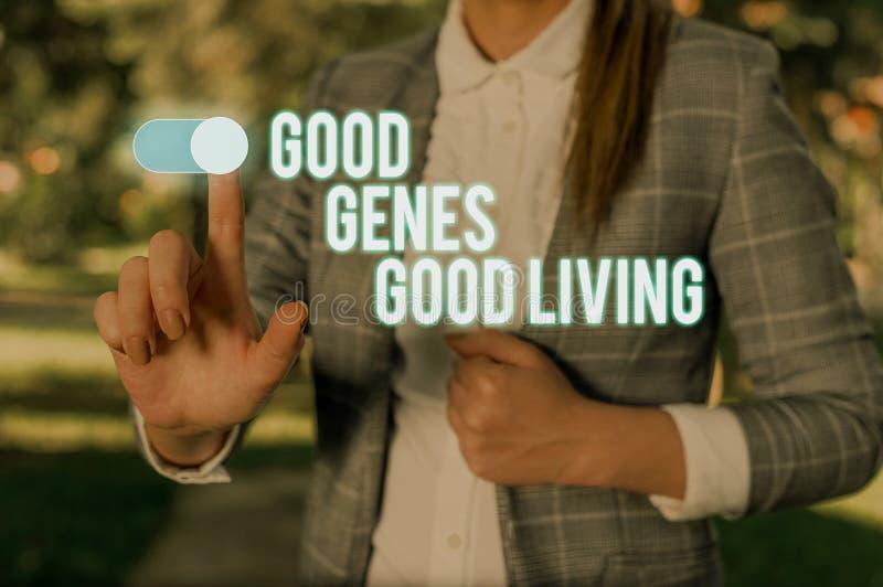 Signo de texto que muestra la buena vida de los buenos genes Foto conceptual Resultados genéticos heredados en longevidad Mujer s foto de archivo