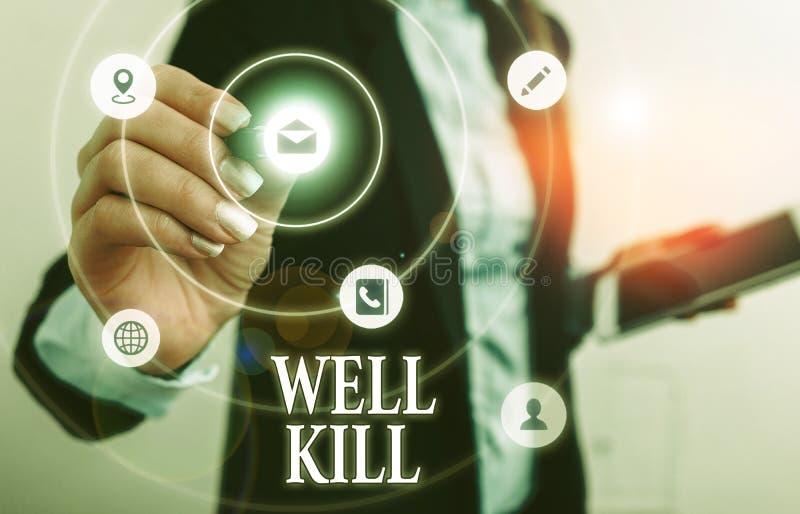 Signo de texto que muestra Well Kill Fotografía conceptual de colocar una columna de líquido pesado en un pozo foto de archivo libre de regalías