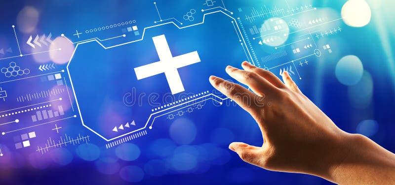 Signo más con el presionado a mano un botón ilustración del vector
