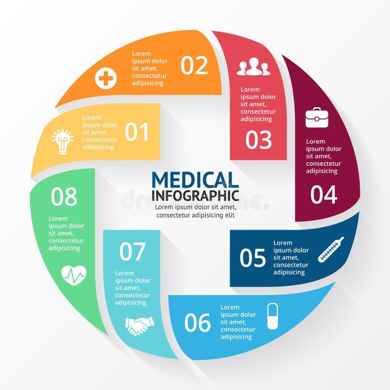 Signo más del círculo del vector infographic Plantilla para el diagrama, el gráfico, la presentación y la carta Concepto médico d ilustración del vector