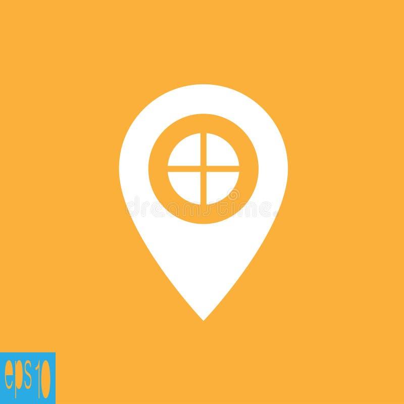Signo más del indicador del mapa, icono - ejemplo del vector stock de ilustración