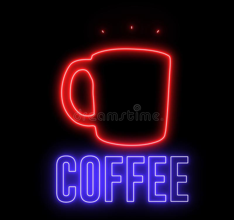 Signo neón de una taza de café caliente y texto `CAFÉ'. Luz creativa brillante y bebida espresso, lata stock de ilustración