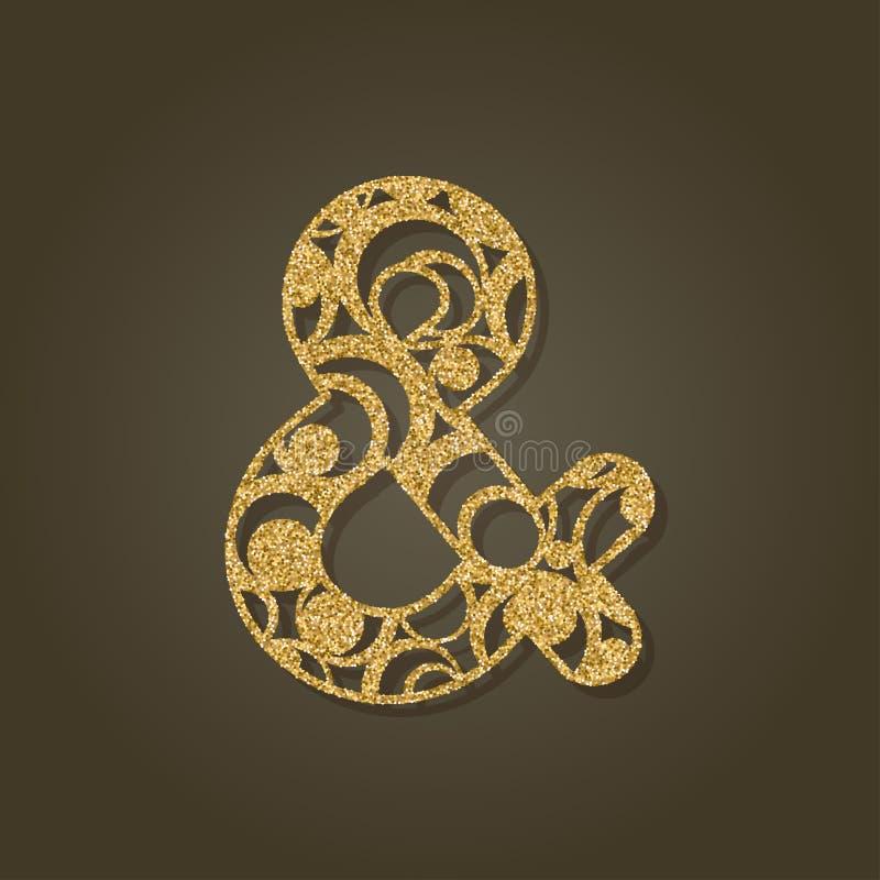 Signo '&' para el corte del laser Modelo redondo del oro stock de ilustración