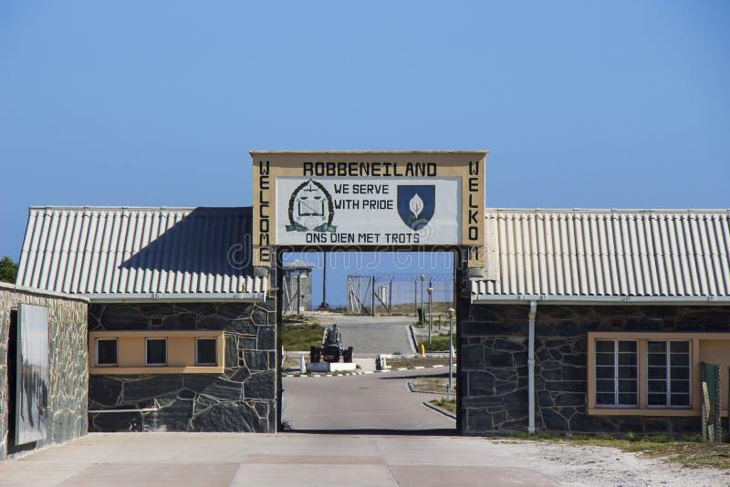 Signo positivo 1 de la isla de Robben fotografía de archivo