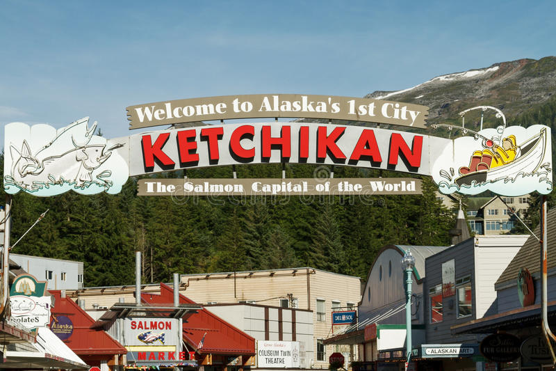Signo positivo a Ketchikan Alaska imagen de archivo libre de regalías