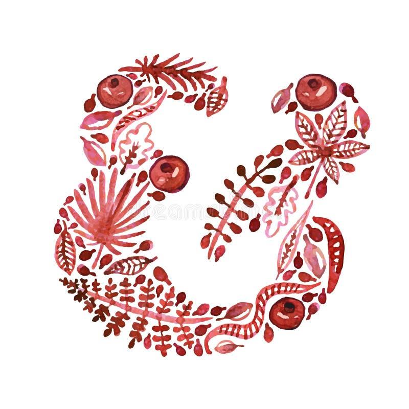 Signo '&' rojo del vector de la naturaleza de la acuarela con las hojas, los granates y otras plantas (verde) libre illustration